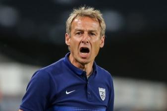 COLOGNE, GERMANY - JUNE 10: Head Coach Juergen Klinsmann of the USA reacts during the International Friendly match between Germany and USA at RheinEnergieStadion on June 10, 2015 in Cologne, Germany. (Photo by Simon Hofmann/Bongarts/Getty Images)